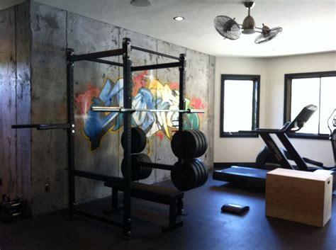 Basement Gym W Cement Walls & Graffiti Art, Mat Floor And