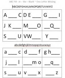 Fill in the Blank Alphabet Letters Worksheet