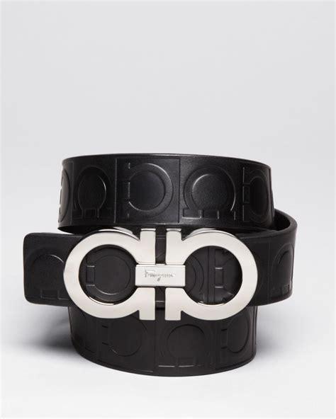 Ferragamo Gamma Embossed Leather Double Gancini Belt In