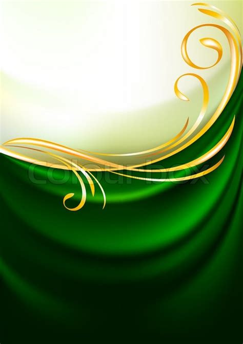 green fabric curtain background gold vignette stock vector colourbox