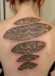 Steampunk under skin cogs and gears spine tattoo ...