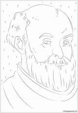 Cezanne Paul Coloring Portrait sketch template