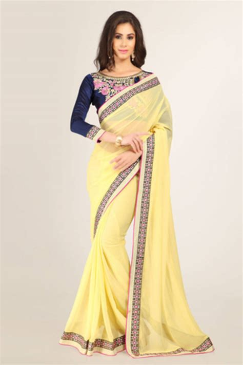 light yellow blouse buy light yellow plain georgette saree with blouse