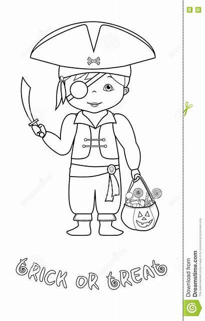 Halloween Coloring Pirate Cartoon Happy Coloritura Pirata