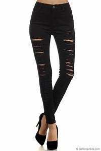 High Waisted Ripped Black Skinny Jeans | Bbg Clothing
