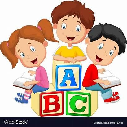 Reading Children Vector Illustration Cartoon Books Vectorstock