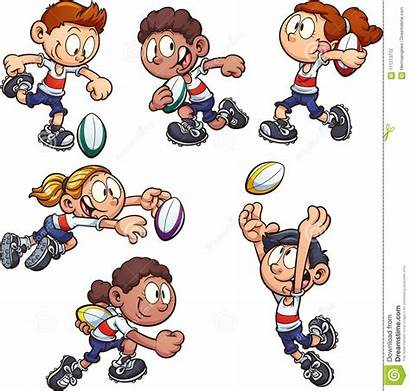 Playing Rugby Cartoon Clipart Dreamstime Kid Vector