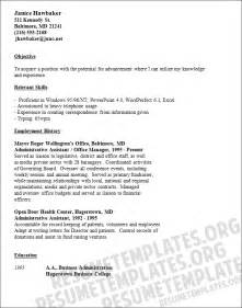 keywords for a clerical resume clerical resume template sle resumes for office work