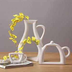 Home, Decor, Flower, Vase, Ceramic, Teapot, Shape, Stylish, Kettle, Vases, Art, Design