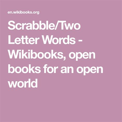 Scrabbletwo Letter Words Wikibooks Open Books For An