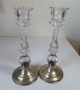 vintage cambridge crystal wildflower sterling silver base With best brand of paint for kitchen cabinets with rope candle holder