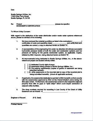facility turnover documents bonita springs utilities