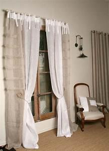 Rideau En Lin Blanc : rideau voile de lin blanc et beige mod le iris le monde ~ Melissatoandfro.com Idées de Décoration