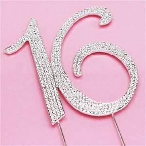 Number 16 Rhinestone Cake Topper - Sweet Sixteen Favors
