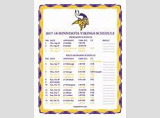 Printable 20172018 Minnesota Vikings Schedule