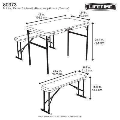 lifetime folding picnic table  benches