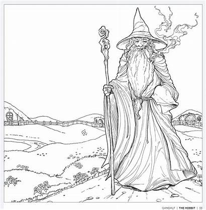 Coloring Colouring Gandalf Pages Hobbit Tolkien Adults