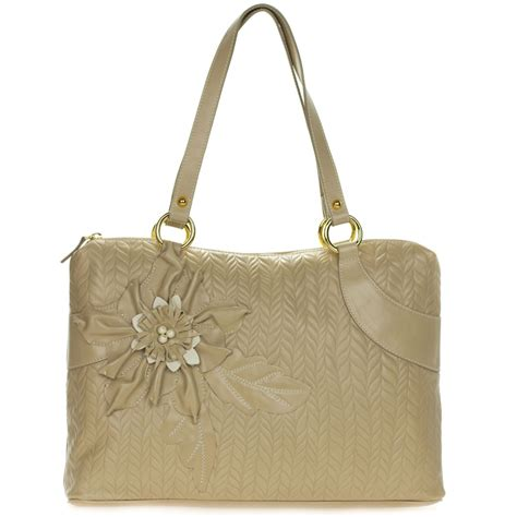 beige leather tote  flower   italy  braccialini