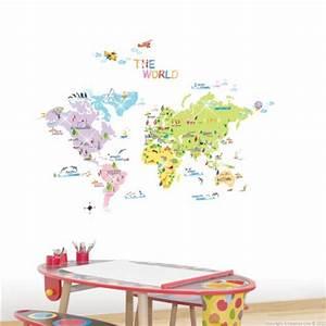 Carte Du Monde Sticker : sticker carte du monde pour enfants stickers chambre enfant stickers enfant ~ Dode.kayakingforconservation.com Idées de Décoration