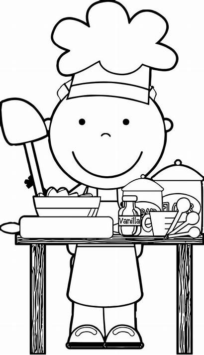 Chef Clipart Coloring Cooking Clip Pages Dinner