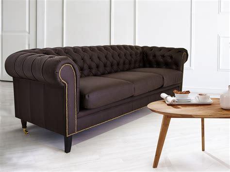 sofa kunstleder braun chesterfield 3er sofa santos kunstleder braun