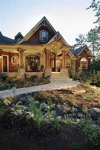 Exterior, Cottage, Mediterranean, Style, House, Plans, Craftsman, One, Story, Unique, Stone, And, Wood, Floor