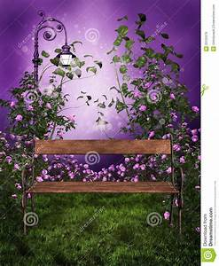 Purple Garden With A Bench Royalty Free Stock Images ...