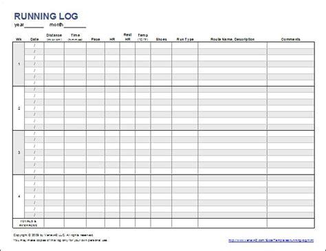 simple running log  walking log template