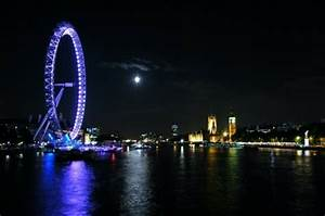 cityscapes night moon london buildings london eye city