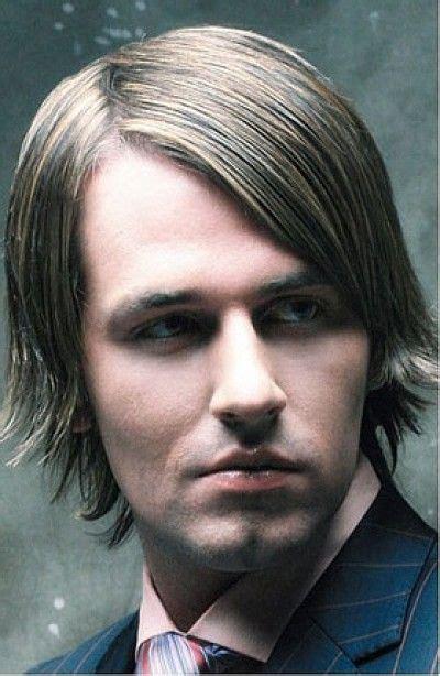 sleek wet look hairstyle for men with fringe mens hair