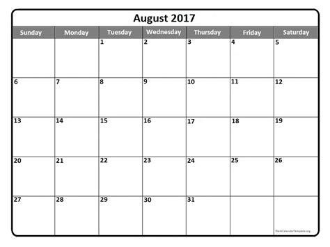 calendar template august 2017 august 2017 calendar template calendar printable free