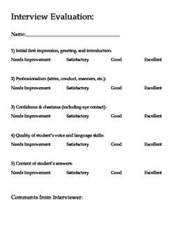 mock college job interview questions  rubric