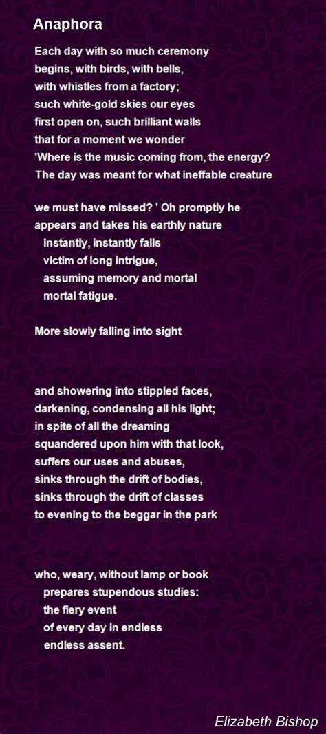 anaphora poem  elizabeth bishop poem hunter