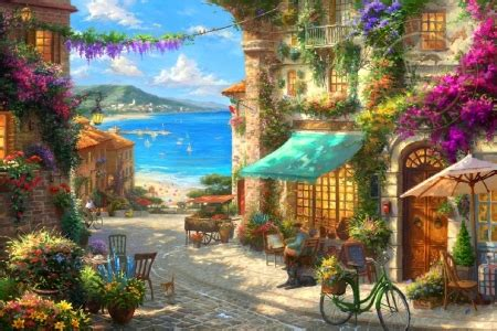 italian cafe beaches nature background wallpapers