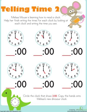 telling time with mouse kindergarten worksheets