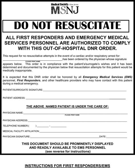 15350 sle do not resuscitate form new jersey do not resuscitate form for free