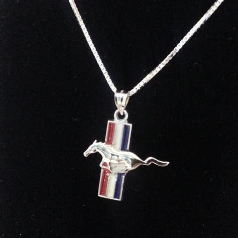 ford mustang necklace ford mustang pendant with white and blue enamel