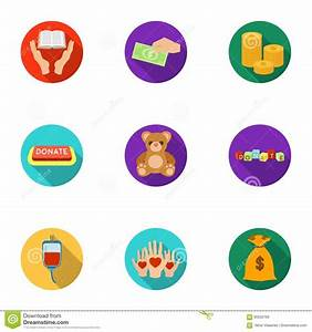 Charitable Foundation. Icons On Helping People And ...