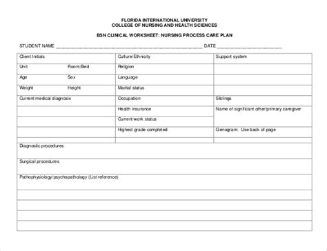 nursing care plan template   word excel