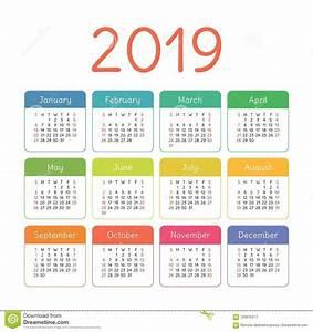 Calendário 2019 Anos Molde Colorido Do Vetor Começos Da