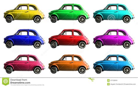 Old Vintage Car Collage Colorful. Italian Industry. On
