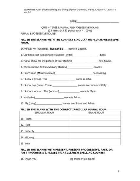 collections of free possessive noun worksheets easy