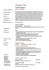 Supervisor Resume Templates Audit Manager Resume Auditing Risk Exle Sle Processes Description Cv