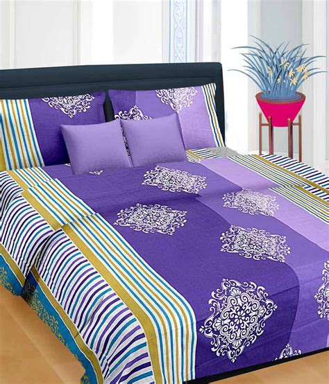 Bed Sheets by Cortina Purple Cotton Bedsheet With 2 Pillow Cover