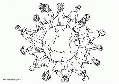 Coloring Pages Children Map Colouring Around Message