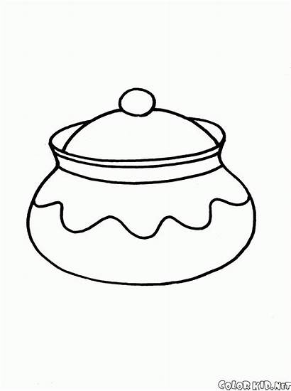 Coloring Dishes Pages Lid Pot