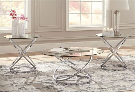 Planked tabletop and slatted shelf add a wealth of charm. HOLLYNYX ROUND GLASS PIECE COFFEE TABLE SET SIGNATURE DESIGN BY ASHLEY PRODUCT   furniture store ...