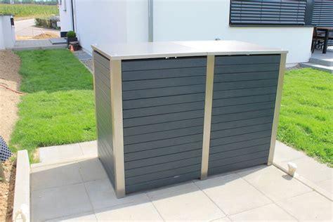 mülltonnenbox mit pflanzdach selber bauen m 252 lltonnenbox edelstahl mit kunststoff zaun fackler