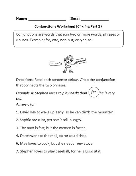 circling conjunctions worksheet englishlinx com board
