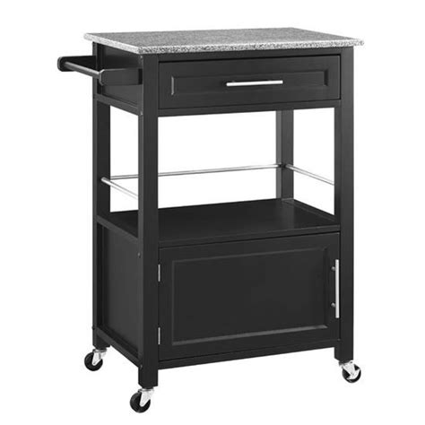 mitchell mobile kitchen cart with granite top in black or